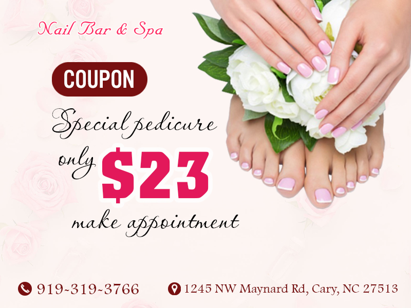 Coupons | Nail salon 27513 | Cary NC | Nail Bar & Spa